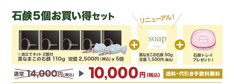 【黒なまこの石鹸5個お買い得セット】石鹸110g5個+泡立てネット2個+石鹸50g1個+石鹸トレイ1個で10,000円です。