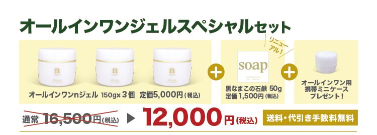 【オールインワンジェルスペシャルセット】オールインワンnジェル3個+黒なまこの石鹸50g1個+ミニクリームケース1個で12,000円です。