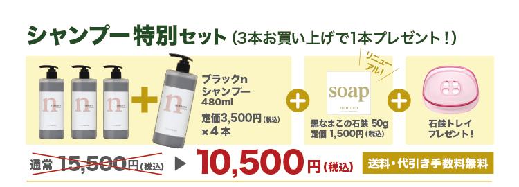 【シャンプー特別セット】ブラックnシャンプー4本+黒なまこの石鹸50g1個+石鹸トレイ1個で10,500円です。