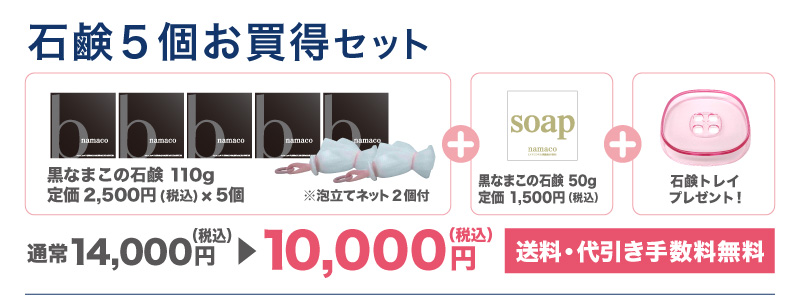 【石鹸5個お買得セット】黒なまこ石鹸110g5個・泡立てネット2個・黒なまこ石鹸50g1個・石鹸トレイ1個で10,000円です。